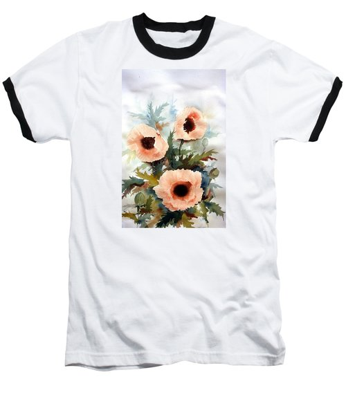 Baseball T-Shirt featuring the painting Three Poppies by William Renzulli