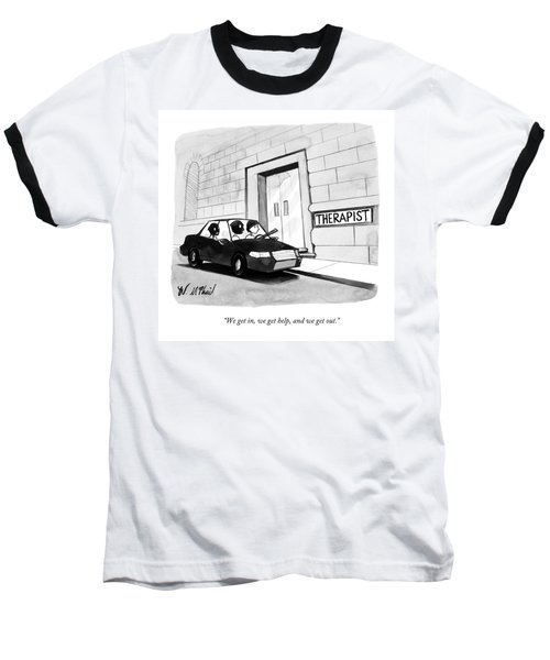 Three Robbers Sit In A Car Outside A Building Baseball T-Shirt