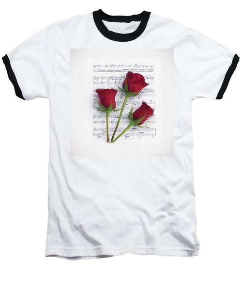 Three Rose Music Duvet Baseball T-Shirt