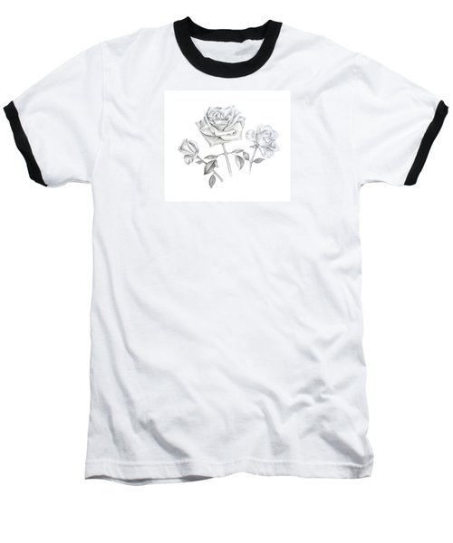 Baseball T-Shirt featuring the drawing Three Roses by Elizabeth Lock