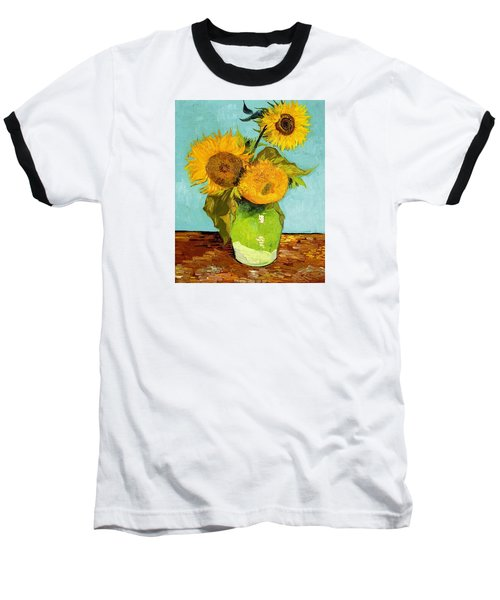 Three Sunflowers In A Vase Baseball T-Shirt by Vincent Van Gogh