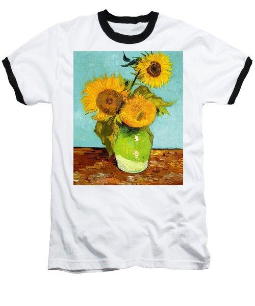 Three Sunflowers In A Vase Baseball T-Shirt