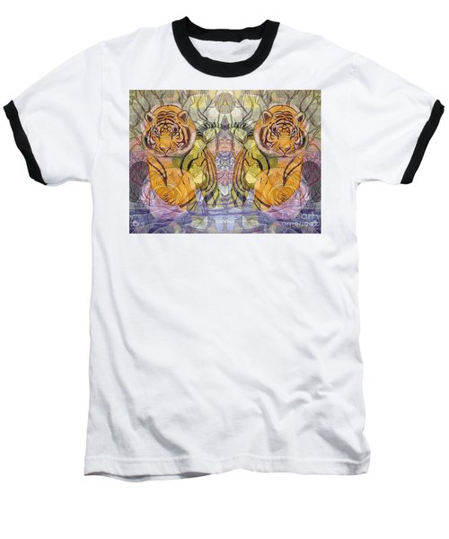 Baseball T-Shirt featuring the painting Tiger Spirits In The Garden Of The Buddha by Joseph J Stevens