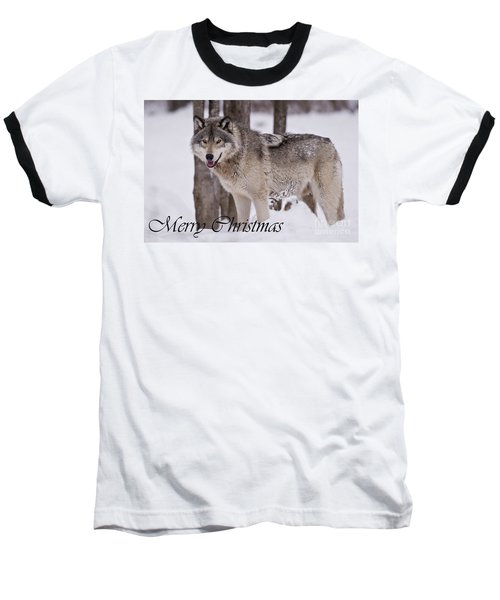 Timber Wolf Christmas Card English 3 Baseball T-Shirt
