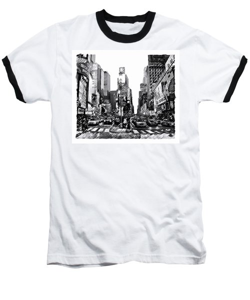 Baseball T-Shirt featuring the painting Times Square   New York City by Iconic Images Art Gallery David Pucciarelli