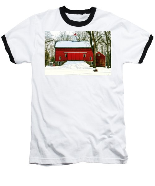 Tinicum Barn In Winter II Baseball T-Shirt