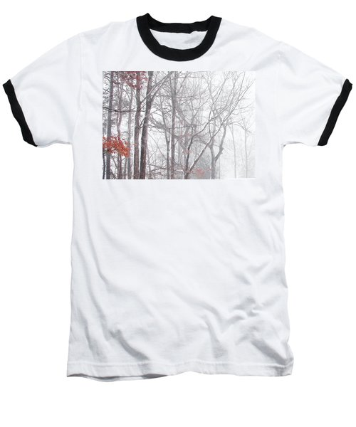 Baseball T-Shirt featuring the photograph Touch Of Fall In Winter Fog by Pamela Hyde Wilson