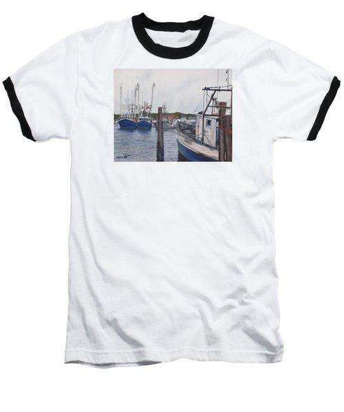 Trawlers At Gosman's Dock Montauk Baseball T-Shirt by Barbara Barber
