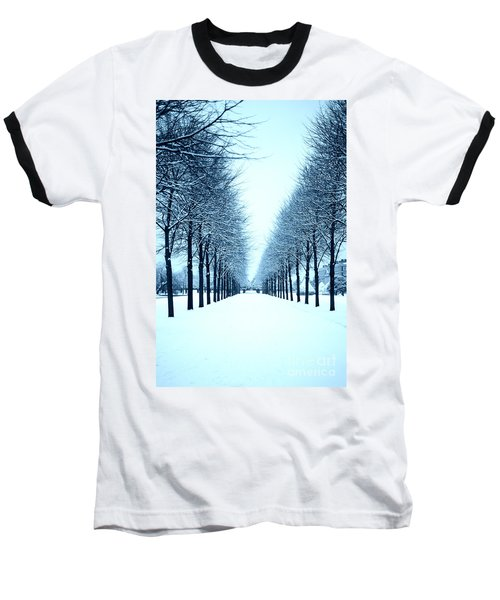 Tree Avenue In Snow Baseball T-Shirt