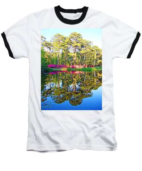 Tree Reflections And Pink Flowers By The Blue Water By Jan Marvin Studios Baseball T-Shirt