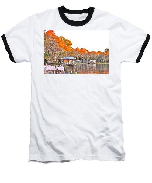 Trees By The Lake Baseball T-Shirt by Lorna Maza