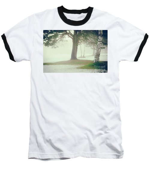Baseball T-Shirt featuring the photograph Trees In Fog by Silvia Ganora