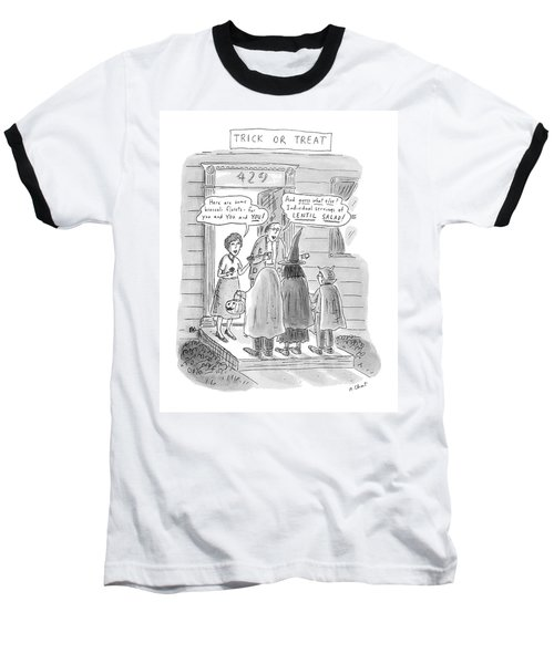 Trick Or Treat 'here Are Some Broccoli Florets - Baseball T-Shirt by Roz Chast