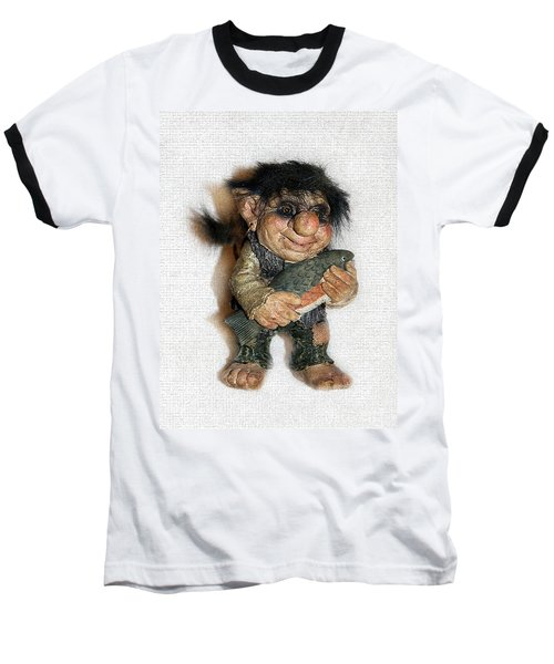Baseball T-Shirt featuring the sculpture Troll Fisherman by Sergey Lukashin