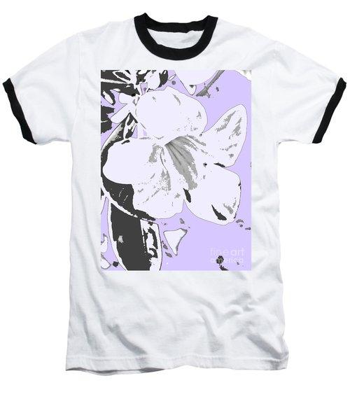 Tropical Floral Violet Black Baseball T-Shirt
