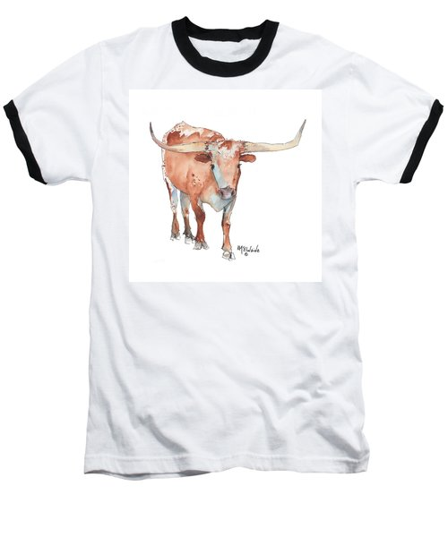 Square Walking Tall Texas Longhorn Watercolor Painting By Kmcelwaine Baseball T-Shirt by Kathleen McElwaine