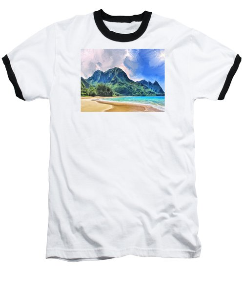 Tunnels Beach Kauai Baseball T-Shirt by Dominic Piperata