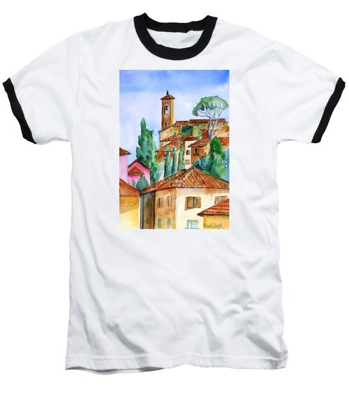 Baseball T-Shirt featuring the painting Tuscan Rooftops  -montecatini Alto by Trudi Doyle