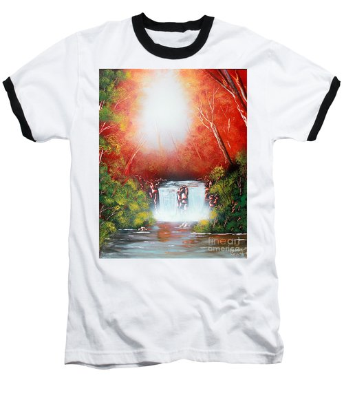 Baseball T-Shirt featuring the painting Twin Falls  by Greg Moores