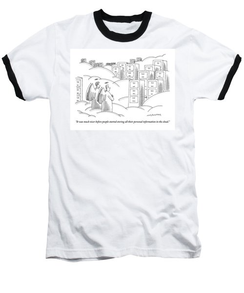 Two Angels In Heaven Observe A Landscape Baseball T-Shirt