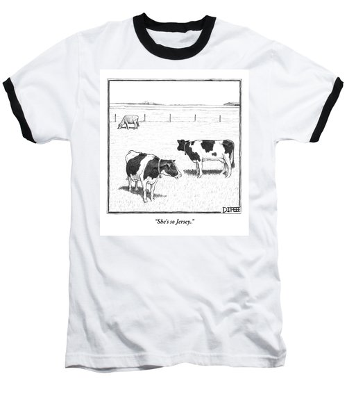 Two Spotted Cows Looking At A Jersey Cow Baseball T-Shirt