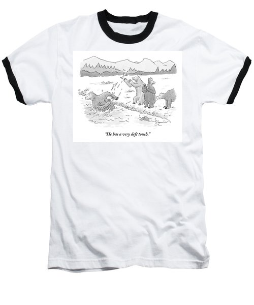 Two Bears Drink Martinis On The Bank Of A River Baseball T-Shirt