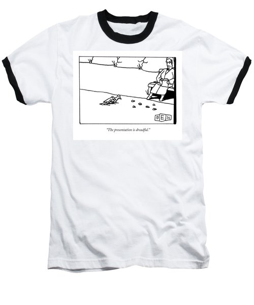 Two Birds Examine The Bread Crumbs That A Woman Baseball T-Shirt