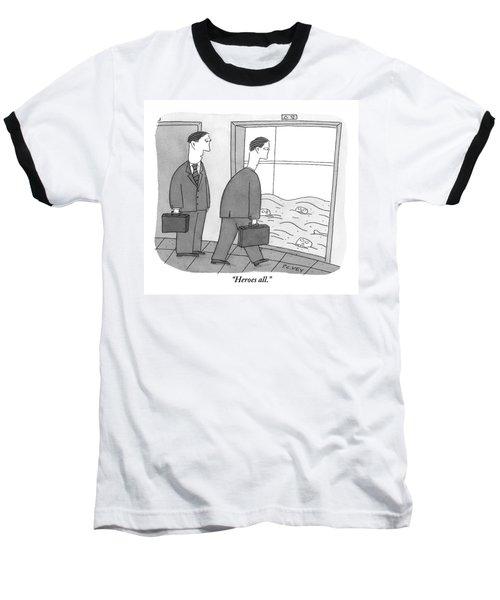 Two Businessmen Walk Towards An Open Elevator Baseball T-Shirt