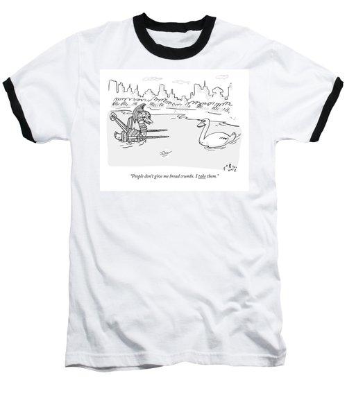 Two Ducks In A Pond. One Is Wearing Roman War Baseball T-Shirt