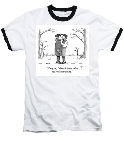 Two Gentlemen Stand Nose-to-nose With Guns Baseball T-Shirt