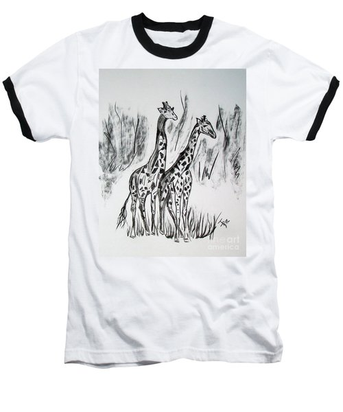 Baseball T-Shirt featuring the drawing Two Giraffe's In Graphite by Janice Rae Pariza