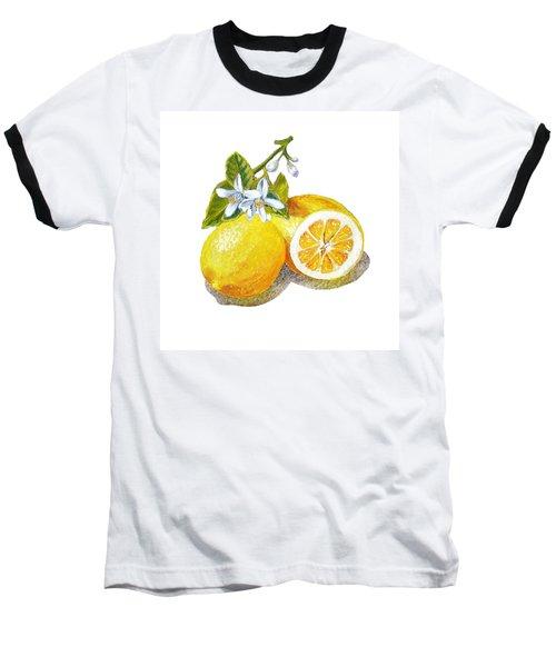 Baseball T-Shirt featuring the painting Two Happy Lemons by Irina Sztukowski