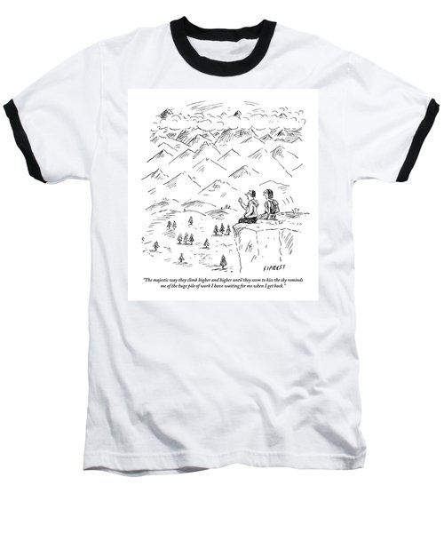 Two Hikers In A Mountainous Area Are Resting. One Baseball T-Shirt