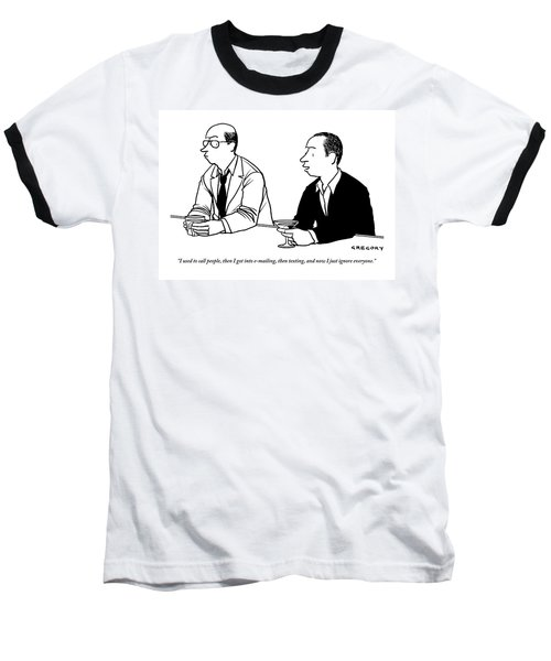 Two Men Are Seen Speaking With Each Other Baseball T-Shirt