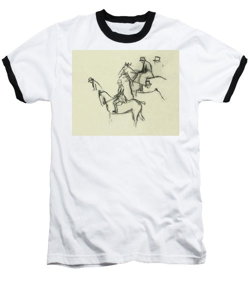 Two Men Horse Riding Baseball T-Shirt
