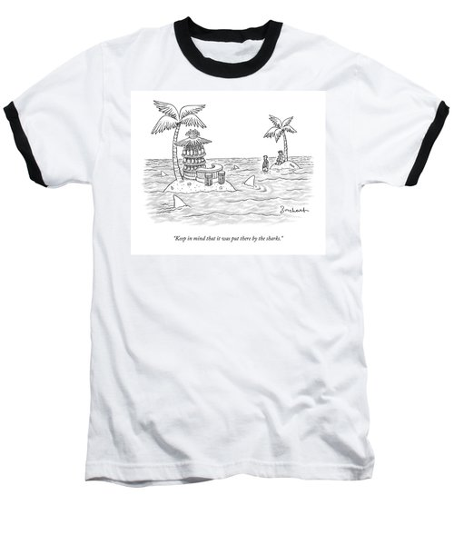 Two Men Stand On A Desert Island Baseball T-Shirt
