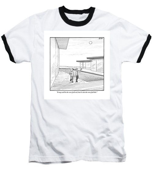 Two Men Touring The Outside Of A Big House Baseball T-Shirt