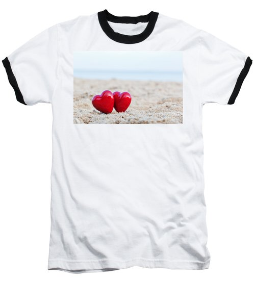 Two Red Hearts On The Beach Symbolizing Love Baseball T-Shirt by Michal Bednarek