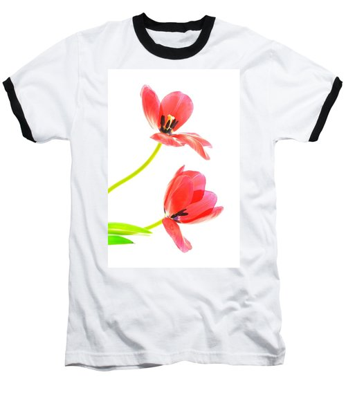 Two Red Transparent Flowers Baseball T-Shirt