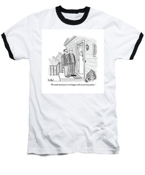 Two Suited Men Stand On The Doorstep Of A House Baseball T-Shirt