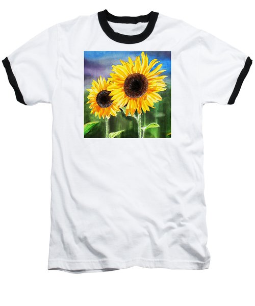 Baseball T-Shirt featuring the painting Two Sunflowers by Irina Sztukowski