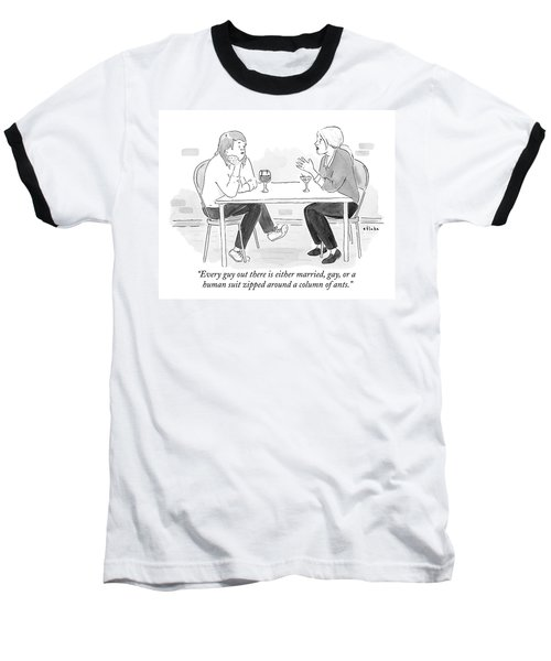 Two Women With Cocktails Talk At A Bar Table Baseball T-Shirt