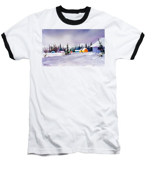 Baseball T-Shirt featuring the painting Tyonek Village Impression by Teresa Ascone