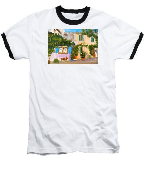 Baseball T-Shirt featuring the painting Umbera Courtyard by Pamela  Meredith