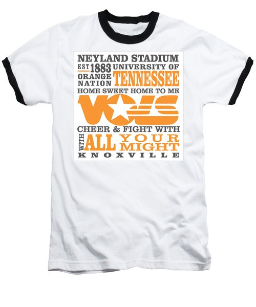 University Of Tennessee Graphic Canvas Baseball T-Shirt by Debbie Karnes