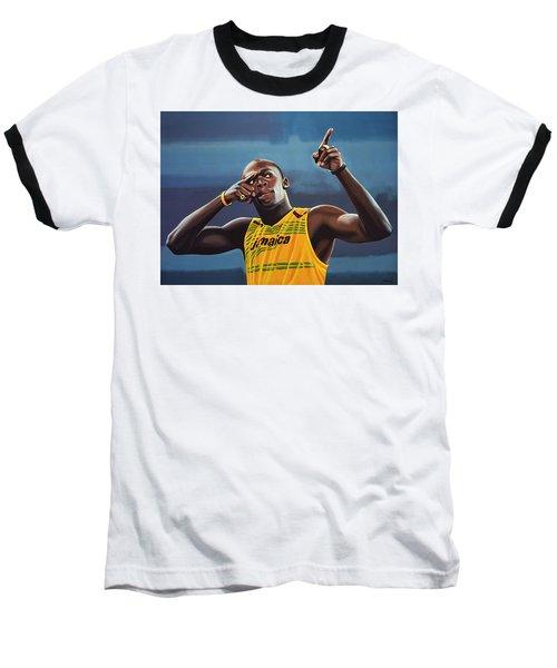 Usain Bolt Painting Baseball T-Shirt