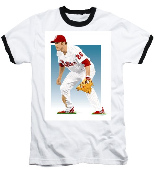 Utley In The Ready Baseball T-Shirt by Scott Weigner