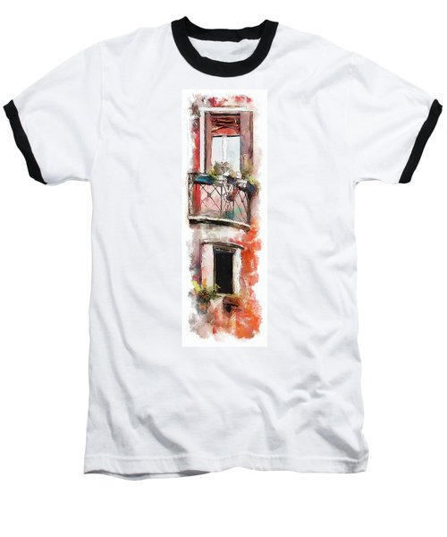 Baseball T-Shirt featuring the painting Venetian Windows 4 by Greg Collins