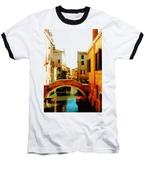 Venice Italy Canal With Boats And Laundry Baseball T-Shirt