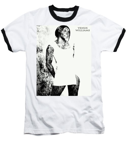 Venus Williams Paint Splatter 2c Baseball T-Shirt by Brian Reaves